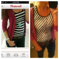 Pinterest Told Me To!  Black and white striped tank with jeans and a magenta cardigan.