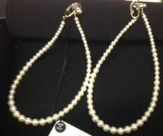 Chanel Pearl Gold CC Hoop Runway Earrings