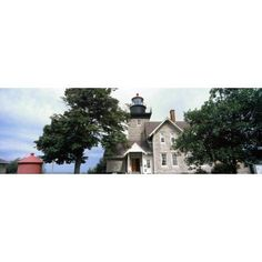 Low angle view of a lighthouse Thirty Mile Point Light Golden Hill State Park Barker Niagara County New York State USA Canvas Art - Panoramic Images (12 x 36)