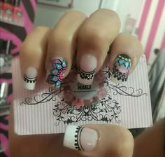 Uñas Nail Art Hacks, Nail Art Diy, Pink Nails, My Nails, Tribal Nails, Nails 2018, Crazy Nails, French Tip Nails, Nail Decorations