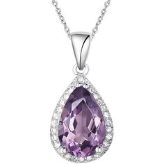 H. Azeem - Pear Drop Amethyst Necklace ($155) ❤ liked on Polyvore featuring jewelry, necklaces, amethyst jewellery, amethyst pendant necklace, amethyst stone necklace, amethyst necklace and amethyst jewelry