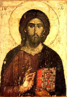 A lacquered icon of Christ the Pantocrator on wood. Jesus holds the Gospel in a precious cover in his left hand and blesses the faithful with his right hand Byzantine Icons, Byzantine Art, Religious Icons, Religious Art, Christus Pantokrator, Art Icon, Orthodox Icons, Medieval Art, Sacred Art