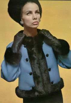 Totally Fashion Worthy 1964 Christian Dior LOVE the short coat, opposite buttons, fur on collar, bottom, cuffs and front. Interesting how it doesn't look overdone. This look works!