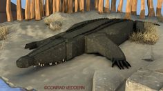 The Croc.   Low poly scene created in Cinema4D by Conrad Veddern.
