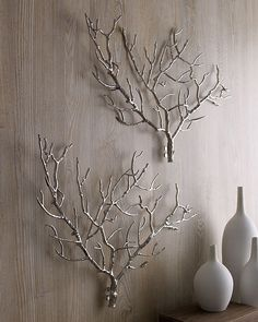 Tree branch wall sculptures, from Neiman Marcus Metal Tree Wall Art, Diy Wall Art, Diy Wall Decor, Art Decor, Decor Ideas, Art Ideas, Silver Wall Decor, Wall Wood, Wall Decorations