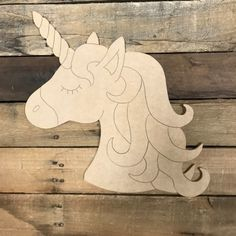 Unicorn Head, Unfinished Wooden Cutout Craft, Paint by Line – Door hanger Wooden Cutouts, Wooden Shapes, Scroll Saw Patterns Free, Wood Patterns, Free Pattern, Unicorn Painting, Diy Painting, Unicorn Pictures, Zeina