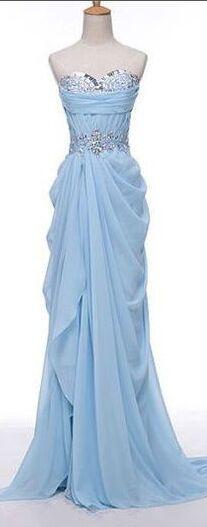 Light Sky Blue Chiffon Beaded Sweetheart Long Prom Dresses,Zipper Back Prom Dress,Party Gowns