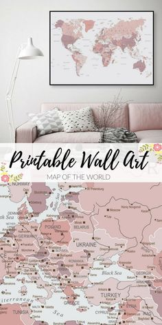Printable Art for only $6. Downloadable, Map of World, Map, World Map, Pink and Grey, Blush Pink, Poster, Print, Wall Art, Bedroom Decor, Grey Bedroom #wallartdeco #scandinavianstyle #minimalistpainting #modernhomedesign #minimalistdecor #ad