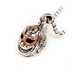 Lucha Libre/Skull Sterling Silver Pendant/Wrestler/Cross/Mexican Mask/Silver Mask Pendant/S Silver Mask, Silver Skull Ring, Mexican Mask, Gothic Rings, Skull Head, Skull Pendant, Chains For Men, Sterling Silver Pendants, Rings For Men