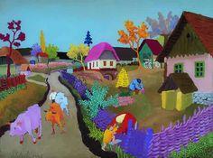 Slavko Stolnik (Croatian, Naive Art, 1929 -1991): Cows Coming Home, 1957