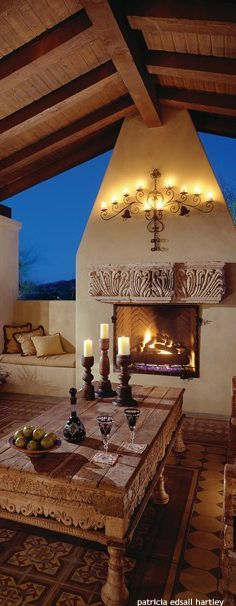 Spacious outdoor living area complete with fireplace - Interior Exterior Design Studio - Results Spanish House, Spanish Style, Spanish Colonial, Exterior Design, Interior And Exterior, Fireplace Seating, Hacienda Style, Outside Living, House With Porch