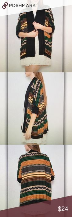 🌲Black and🌲green tribal geo cardigan Elegant and flowy! ! 30 in. Length Made in USA! Poly blend. Fits true to standard curvy sizes. XL- 10/12 1XL- 14/16 2XL- 18/20 3XL- 22/24 Final sale item! Only a few left! 🎉 Every purchase over $30 receives a free gift! 🎁 Tops Blouses
