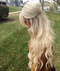 Long Blonde Hair! Half up Half down hairstyle