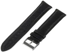 Swiss Watch International 19 MM Black Genuine Ostrich Strap 19DA01M. Matching stitching. Made from genuine ostrich leather. Fits all watches with a 19-mm case lugs. Color: matte black. Polished stainless-steel buckle clasp.