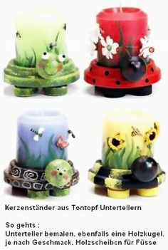 Niedliche Kerzenständer aus Tontopf Untertellern. A similar item in english you find here : http://www.patcatans.com/craft-projects/home-decorating-ideas/summer-decorating-ideas/turtle-tabletop-candle-holder