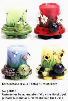 Niedliche Kerzenständer aus Tontopf Untertellern
