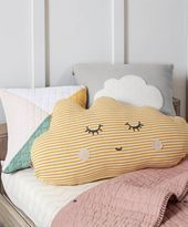 Yellow cloud pillow from Mamas & Papas. Inspiration for lumbar pillow for nursery chair - but too wide for our chair, 56 x 29 cm (max 44 cm wide for chair) Yellow Cloud, Yellow Nursery, Baby Room Themes, Baby Boy Room Decor, Baby Rooms, Baby Bedroom, Kids Rooms, Kids Bedroom, Diy
