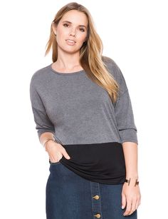 Two Tone Oversized Tee | Women's Plus Size Tops | ELOQUII