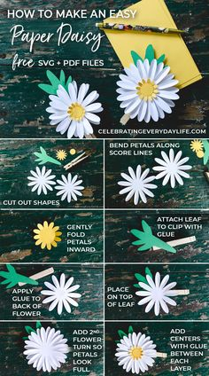 Learn How to Make an Easy Paper Flower Daisy with this. Learn How to Make an Easy Paper Flower Daisy with this easy tutorial! Includes a FREE pattern so you can make your own Paper Daisy. Paper Daisy, Tissue Paper Flowers, Paper Roses, Felt Flowers, Diy Flowers, Paper Flower Art, Flowers Today, Potted Flowers, Flower Svg