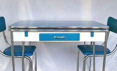"""1950s Blue, White & Chrome Kitchen Table and 3 Matching Chair """"Super Cute"""". $249.95, via Etsy."""