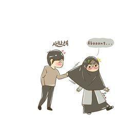 Cute Couple Cartoon, Cute Couple Art, Cute Love Cartoons, Anime Love Couple, Cute Cartoon Wallpapers, Cartoon Pics, Girl Cartoon, Cartoon Art, Cute Muslim Couples