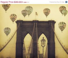 "Alles auf Verkauf Brooklyn Bridge - 8 x 10 Foto - ""Balloons over the Bridge"" - Fine Art print - Vintage Fotografie - Heißluftballone"