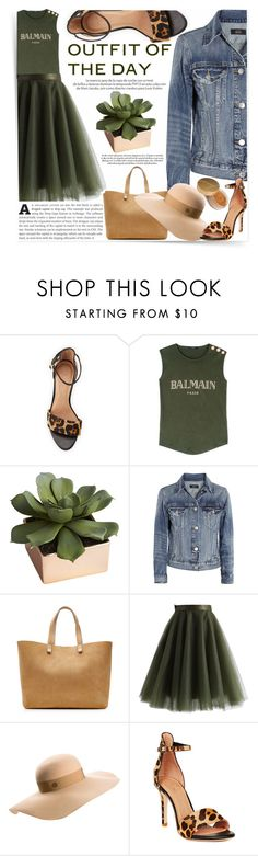 """""""Outfit of the day"""" by mood-chic ❤ liked on Polyvore featuring See by Chloé, Balmain, Louis Vuitton, CB2, J.Crew, Victoria Beckham, Chicwish, Maison Michel, Jane Iredale and women's clothing"""