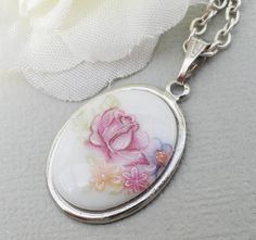 Pink Porcelain Flower Pendant On A Sterling by Kikiburravictoriana, $18.50
