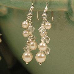 Pearl & Crystal Earrings, Pearl Earrings, Bridal Earrings, Wedding Earring, Bridesmaids, Swarovski Pearls, Shimmery Pearl Earrings