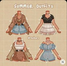 Anime Outfits, Mode Outfits, Cute Casual Outfits, Summer Outfits, Pretty Outfits, Kleidung Design, Drawing Anime Clothes, Clothing Sketches, Cute Art Styles