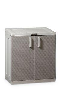 TOOMAX 102 x 90 x 54cm Rattan Line Extra Large Storage Unit with Lid/ 2 Doors - Grey/ Warm Grey