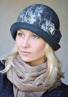 """Купить Шляпка """"Сложные оттенки"""". Синий. - шапка, шляпка, валяная шляпка, Елена Ост, орнамент"""