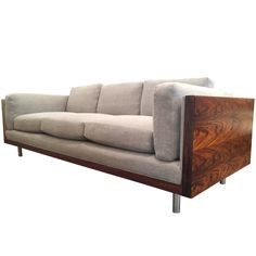 Rosewood Wrapped Milo Baughman Tuxedo Sofa for Thayer Coggin Unique Wood Furniture, Wood Patio Furniture, Living Furniture, Living Room Sofa, Sofa Furniture, Furniture Design, Sofa Set Designs, Wooden Sofa Designs, Diy Sofa
