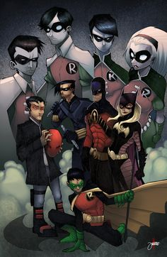 The Robins - Left to Right: Jason Todd, Dick Grayson, Tim Drake, Stephanie Brown. Bottom Center: Damian Wayne