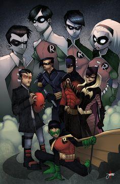 The Robins - Left to Right: Jason Todd, Dick Grayson, Tim Drake, Stephanie Brown. Bottom Center: Damian Wayne