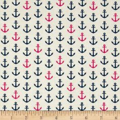 In the Navy Anchor White/Pink, $9.20/yd