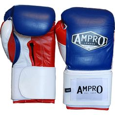 Ampro Mirage V2 Professional Velcro Sparring Glove - Navy/White/Red. Hand Made boxing gloves from the UK premium glove maker and boxing brand. Ampro London have been making gloves since the 1940's. Available in Sizes 12oz - 18oz £120.00