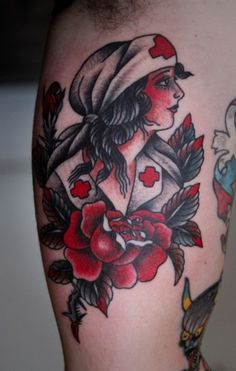 Nurse Tattoo, love the black white and red