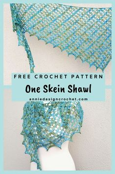 A One Skein Shawl Crochet Pattern with a lacy design, for a narrow asymmetric shawl. Perfect for that precious skein of Indie Dyed yarn. One Skein Crochet, Crochet Shawl Free, Wire Crochet, Basic Crochet Stitches, Crochet Scarves, Cross Stitches, Crochet Designs, Crochet Patterns, Crochet Borders