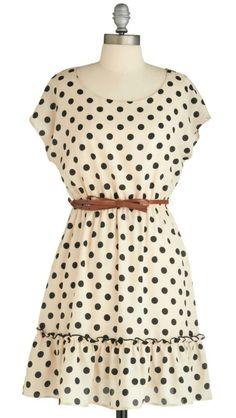 Cream and black polka dot dress with tan belt