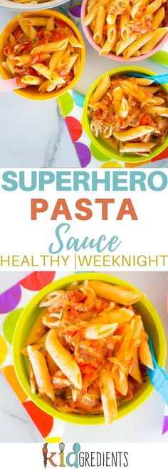 Superhero pasta sauce, the best way to cram your weeknight pasta with a stack of veggies! Easy to make recipe that is super kid friendly and sweet due to the capsicums! #recipe #pastasauce #kidsfood #veggies via @kidgredients via @kidgredients