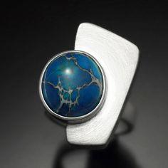 Argentium silver and Blue Variscite Trapezoid Ring by Revonav, $120.00