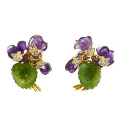 Pre-owned Amethyst Nephrite Gold Platinum Violet Clips Amethyst Jewelry, Amethyst Earrings, Purple Jewelry, Gemstone Jewelry, Gold Jewelry, China Jewelry, Leaf Jewelry, Jewelry Art, Antique Jewelry