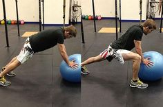 29 Hardest Ab Exercises.  Swiss Ball Mountain Climbers. Place your hands on a Swiss ball and start in a plank position. Brace your abs and prevent your body from moving. Then, raise your knees towards your just without rounding your lower back. Alternate legs for reps.