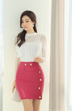 Geometric Cut Gold Button Slim Fit H-Line Skirt Korean Women's Fashion Shopping Mall, Styleonme. Stylish Dresses, Cute Dresses, Fashion Dresses, Dresses For Work, Looks Chic, Girl Fashion, Womens Fashion, Mode Outfits, Asian Beauty
