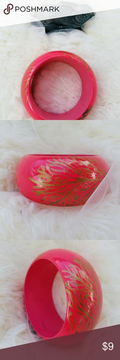 Vintage bangle Hot pink and gold painted Handmade vintage bangle bracelet Made in India Vintage Jewelry Bracelets