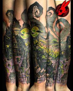 Graveyard Tattoos | Graveyard Crow Evil Sleeve Tattoo by Jackie Rabbit by jackierabbit12