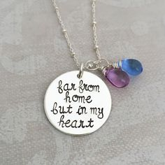 Far From Home But In My Heart Necklace | Military Necklace | Hip Mom Jewelry