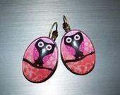 """Boucles d'oreilles """"Les hiboux rose et orange"""" : Boucles d'oreille par a-fleur-de-perles"""