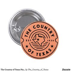 The Country of Texas Pin / Button The Country of Texas Line Logo with Stars T-shirt. The Republic of Texas was established in 1836. Circle badge Texas Lone Star state pin. Hipster style.
